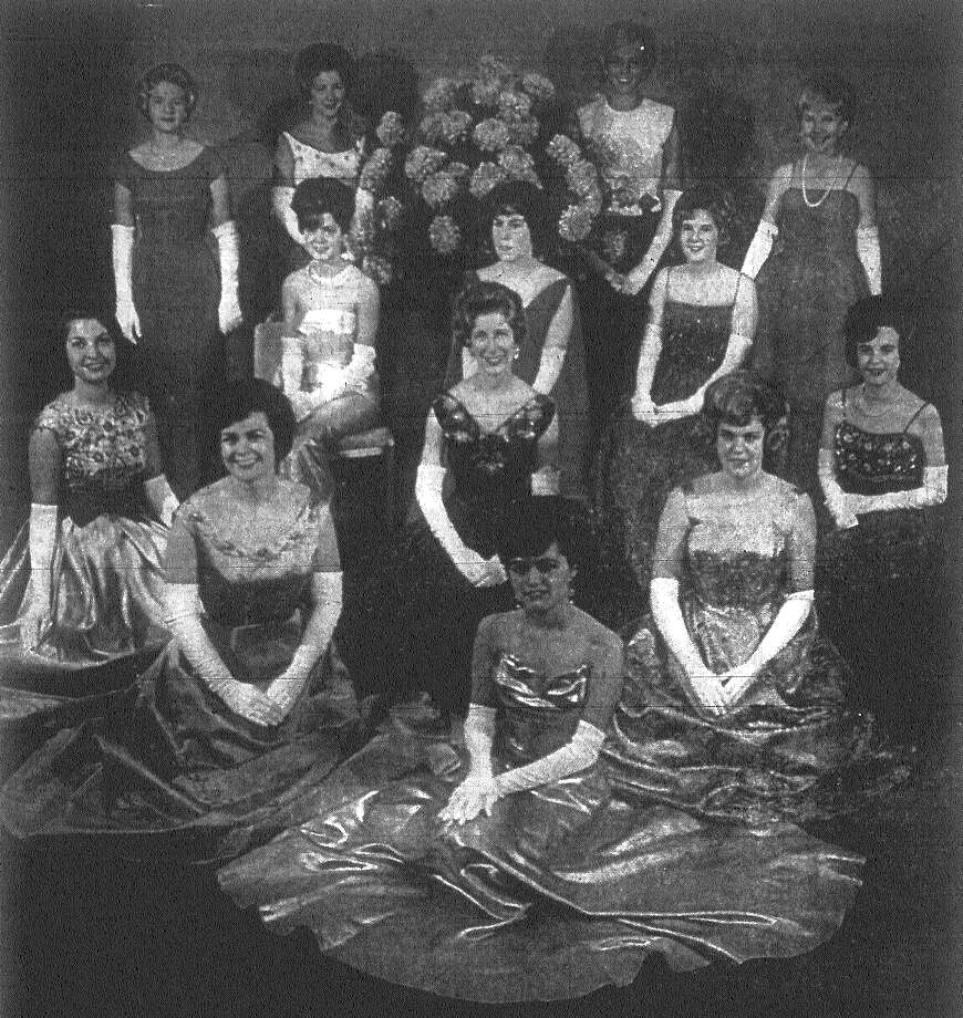 The San Antonio German Club entertained with its traditional ball Friday honoring 13 girls who form the 1962-63 debutante coterie. The honor guests were, from top row left to right, Misses Terry Walsdorf, Scharlie Watson, Mary Tucker, Marilyn Whaley, MarJo McGarraugh, Clifton McNeel, Patsy Stampp, Lynn Finesilver, Betty Dittmar, Jan Smith, Margie Cape, Mary Lodovic and Marcelle Houston. The ball was staged in La Villita Assembly Building. Published in the San Antonio Express Nov. 3, 1962. Photo: File Photo