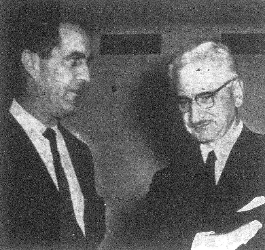 Dr. Albert B. Sabin, right, developer of the three oral polio vaccines, was welcomed to San Antonio Wednesday by Dr. B.B. Markette, public relations chairman for the Bexar County Medical Society. Published in the San Antonio Express Nov. 15, 1962. Photo: File Photo