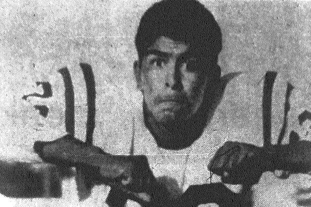 Brackenridge Eagles tackle Isidro Villalobos prepares to take on the Highlands Owls Friday night at Alamo Stadium. Published in the San Antonio Express Nov. 30, 1962.