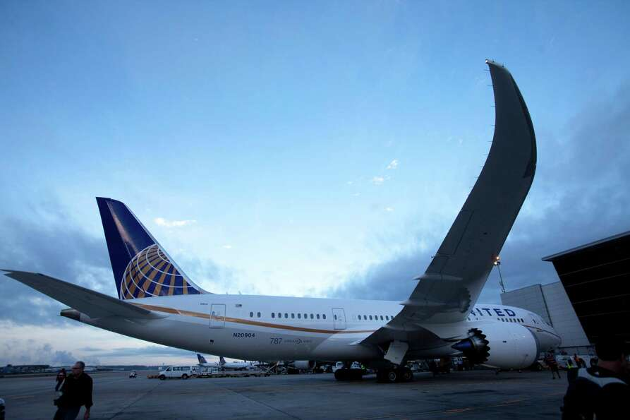 United Airlines - the North American launch customer for the Boeing 787 -prepares to take off before