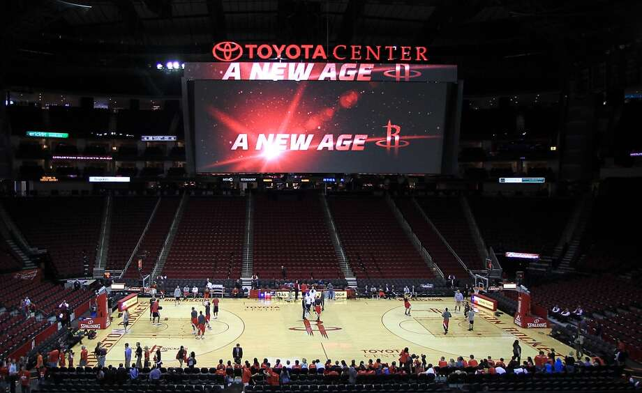 The Rockets unveiled the new, giant scoreboard at Toyota Center for the season opener. (Karen Warren / Houston Chronicle)
