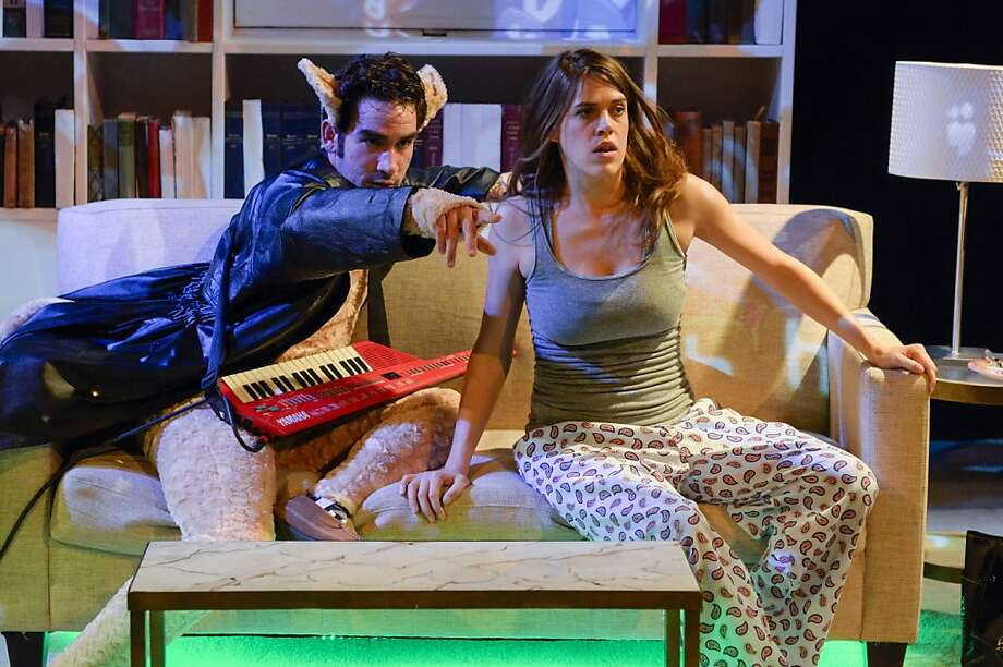 "Annabel (Rosie Hallett) escapes from a lousy birthday party by heading down the wormhole into the wonderland of the Internet with her pal Keyboard Cat (Joel Roster, left) in Center Rep's world premiere of Dorothy Fortenberry's ""Status Update"" Photo: Alessandra Mello"