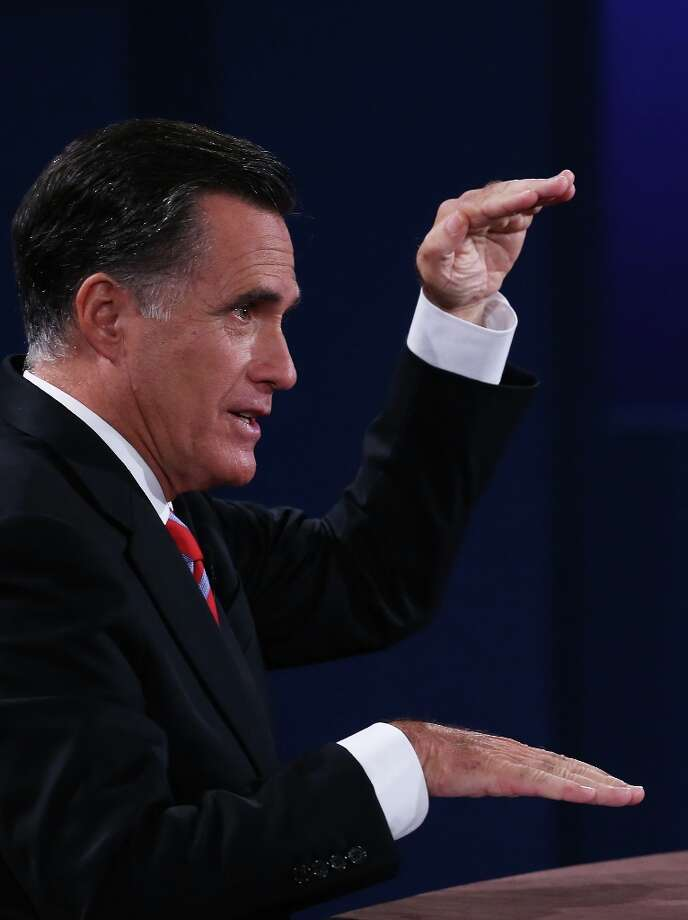 BOCA RATON, FL - OCTOBER 22:  Republican presidential candidate Mitt Romney speaks during a debate with U.S. President Barack Obama at the Keith C. and Elaine Johnson Wold Performing Arts Center at Lynn University on October 22, 2012 in Boca Raton, Florida. The focus for the final presidential debate before Election Day on November 6 is foreign policy.  (Photo by Mark Wilson/Getty Images) Photo: Mark Wilson, Getty Images / 2012 Getty Images