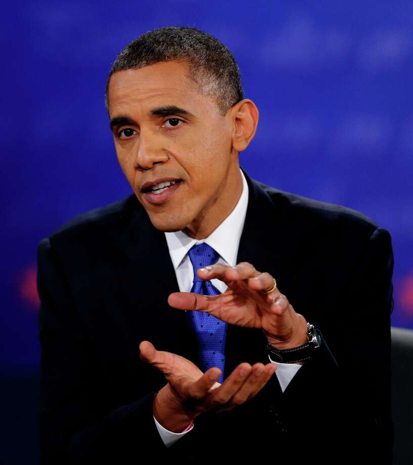 President Barack Obama makes his closing argument during the third presidential debate with Republican presidential nominee Mitt Romney at Lynn University, Monday, Oct. 22, 2012, in Boca Raton, Fla. (AP Photo/David Goldman) Photo: David Goldman, Associated Press / AP