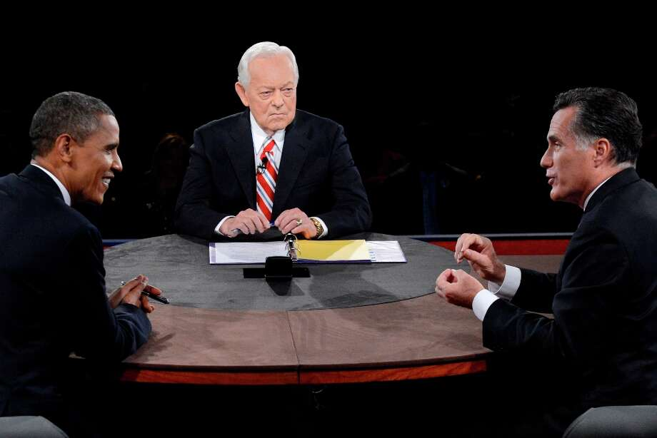 BOCA RATON, FL - OCTOBER 22:  U.S. President Barack Obama (L) debates with Republican presidential candidate Mitt Romney as moderator Bob Schieffer (C) of CBS looks on at the Keith C. and Elaine Johnson Wold Performing Arts Center at Lynn University on October 22, 2012 in Boca Raton, Florida. The focus for the final presidential debate before Election Day on November 6 is foreign policy.  (Photo by Michael Reynolds-Pool/Getty Images) Photo: Pool, Getty Images / 2012 Getty Images
