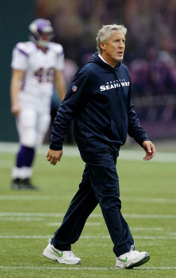 Seattle Seahawks head coach Pete Carroll walks on the field prior to a an NFL football game against the Minnesota Vikings, Sunday, Nov. 4, 2012, in Seattle. Photo: AP