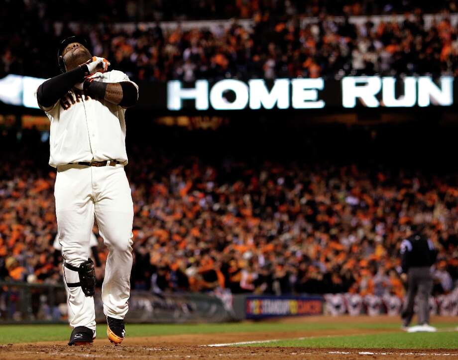 San Francisco Giants' Pablo Sandoval reacts at home after hitting his third home run of the game during the fifth inning of Game 1 of baseball's World Series against the Detroit Tigers Wednesday, Oct. 24, 2012, in San Francisco. Photo: David J. Phillip, Associated Press / AP