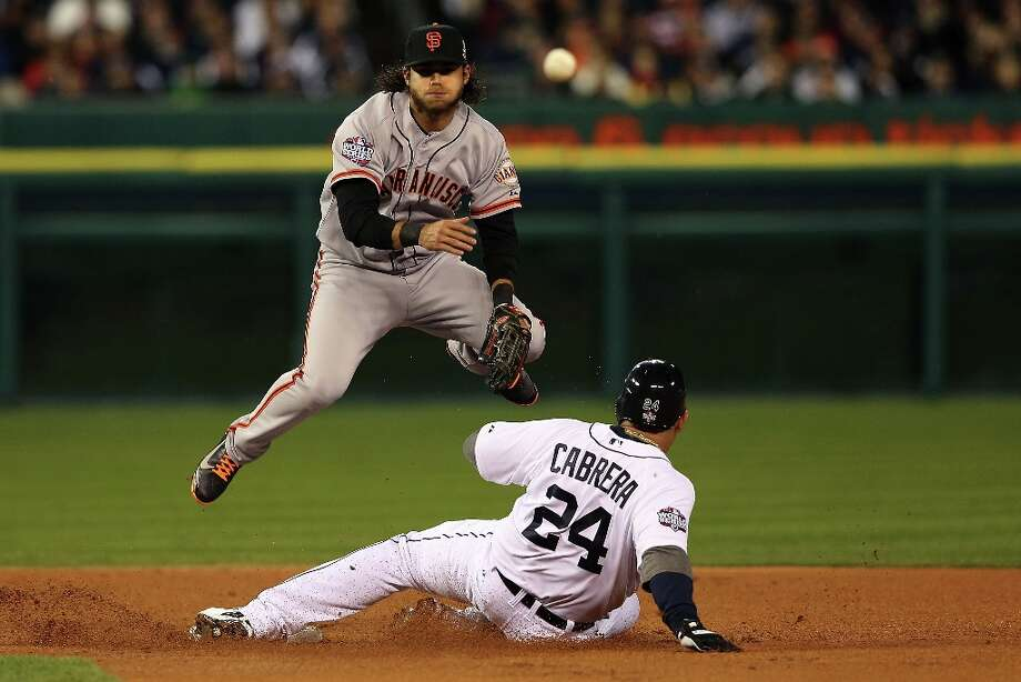 Brandon Crawford tags out Miguel Cabrera for a double play to end the first inning during Game Three of the Major League Baseball World Series at Comerica Park on October 27, 2012 in Detroit, Michigan. Photo: Ezra Shaw, Getty Images / 2012 Getty Images