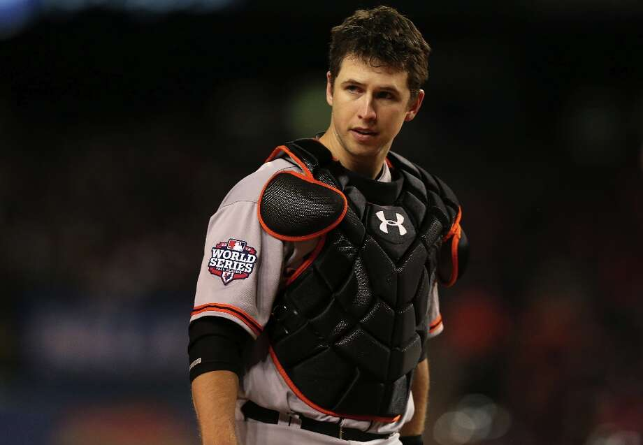 Buster Posey looks on against the Detroit Tigers during Game Four of the Major League Baseball World Series at Comerica Park on October 28, 2012 in Detroit, Michigan. Photo: Ezra Shaw, Getty Images / 2012 Getty Images