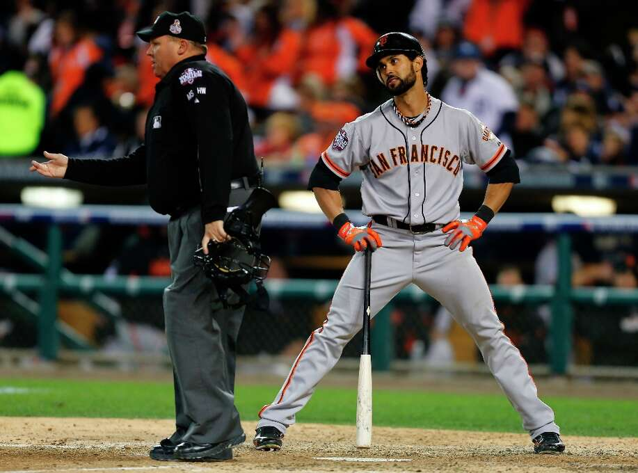 Giants' center fielder Angel Pagan looks at home plate umpire Fieldin Culbreth after being called out on strikes in the 7th inning during game 3 of the World Series at Comerica Park on Saturday, Oct. 27, 2012 in Detroit, MI. Photo: Michael Macor, The Chronicle / ONLINE_YES
