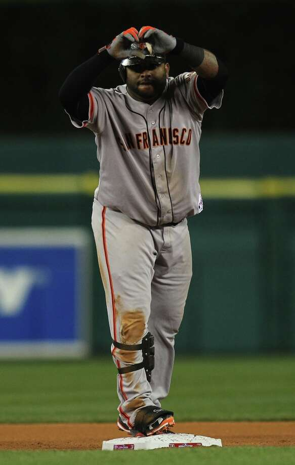 Giants' 3rd baseman Pablo Sandoval flashes a heart after doubling in the 8th inning during game 3 of the World Series at Comerica Park on Saturday, Oct. 27, 2012 in Detroit, MI. Photo: Lance Iversen, The Chronicle / ONLINE_YES