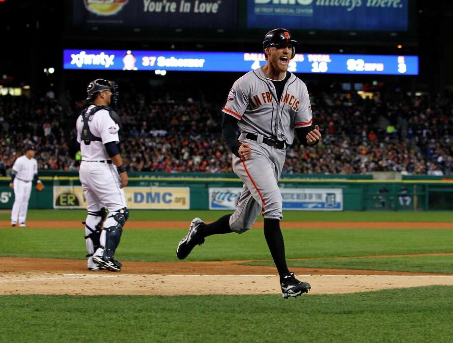 Giants' right fielder Hunter Pence reacts after crossing the plate on a Brandon Belt triple in the 2nd inning during game 4 of the World Series at Comerica Park on Sunday, Oct. 28, 2012 in Detroit, MI. Photo: Michael Macor, The Chronicle / ONLINE_YES