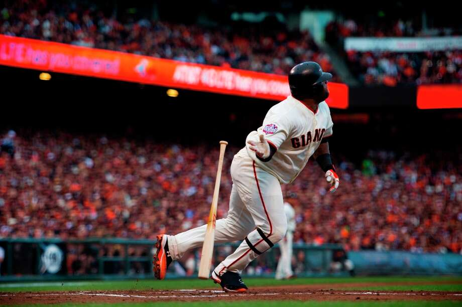 San Francisco Giants' Pablo Sandoval (48) watches his solo home run against the Detroit Tigers in the first inning during Game 1 of baseball's World Series on Wednesday, Oct. 24, 2012, in San Francisco. Photo: Jose Luis Villegas, Associated Press / The Sacramento Bee