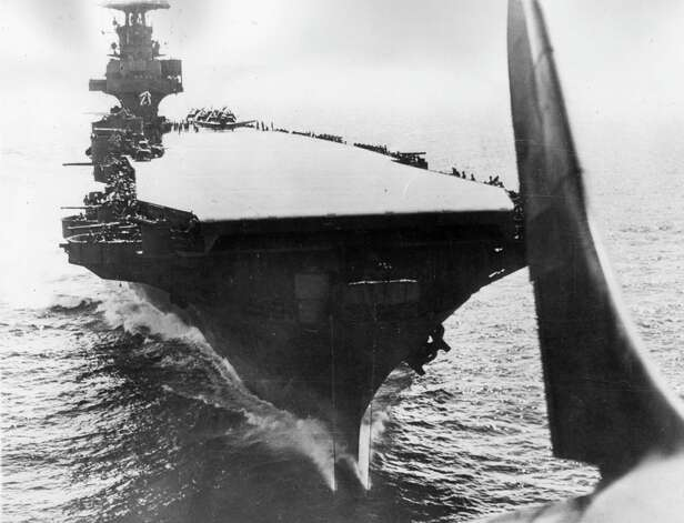The first USS Enterprise is seen from a Douglas Dauntless dive-bomber immediately after it had cleared the flight deck on September 20, 1944, in the Pacific. Photo: Keystone, Getty Images / Hulton Archive