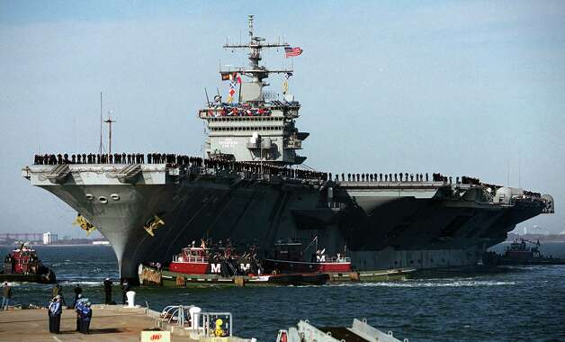 USS Enterprise returns to its home port at Naval Station Norfolk, Va., on November 10, 2001. Photo: Mike Heffner, Getty Images / Getty Images North America