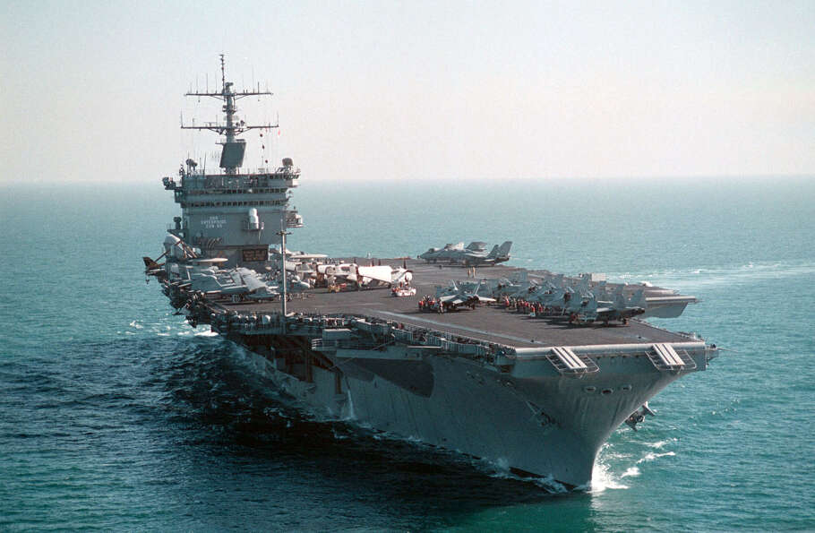 The USS Enterprise is seen operating in the Persian Gulf on December 15, 1998.