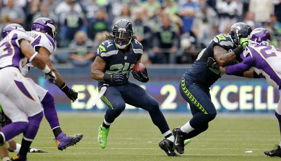 Seattle Seahawks' Marshawn Lynch (24) rushes against the Minnesota Vikings in the first half of an NFL football game, Sunday, Nov. 4, 2012, in Seattle. Photo: AP