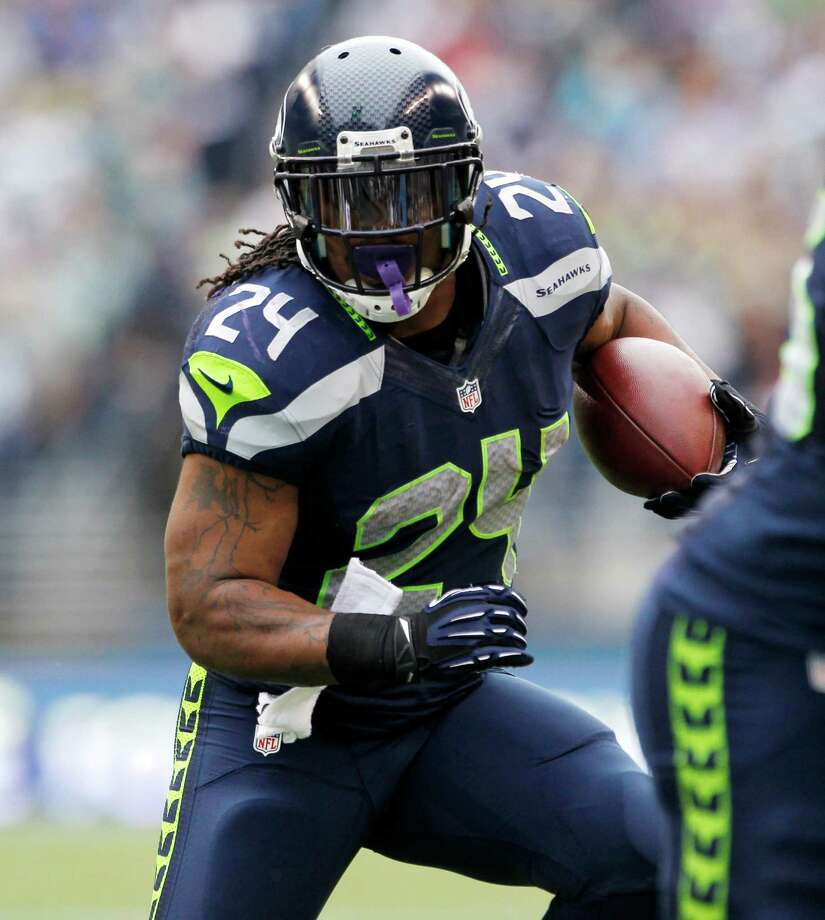 Seattle Seahawks' Marshawn Lynch rushes against the Minnesota Vikings in the first half of an NFL football game, Sunday, Nov. 4, 2012, in Seattle. Photo: AP