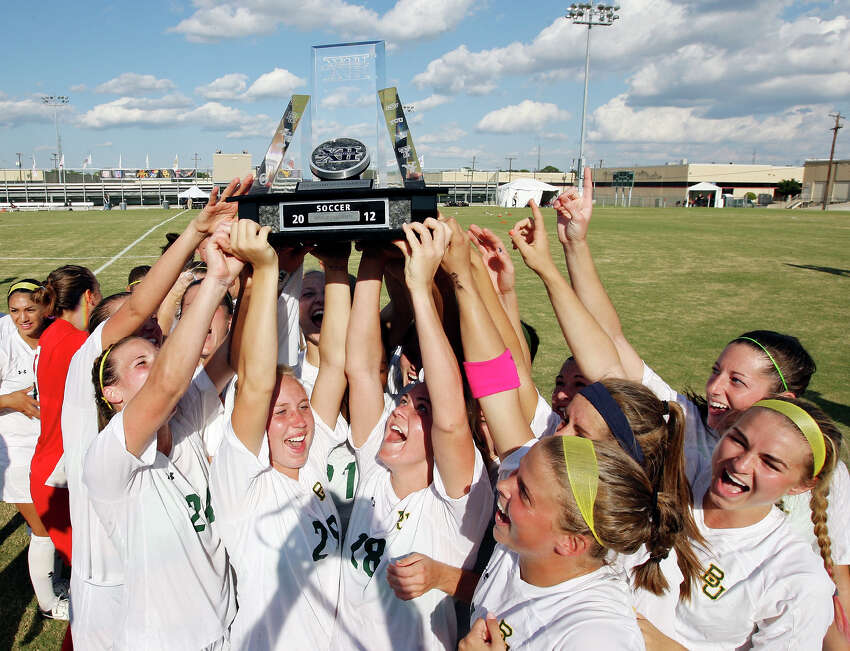Members of the Baylor soccer team celebrate their 4-1 win over TCU Sunday Nov. 4, 2012 during the 2012 Big 12 Soccer Championship match.
