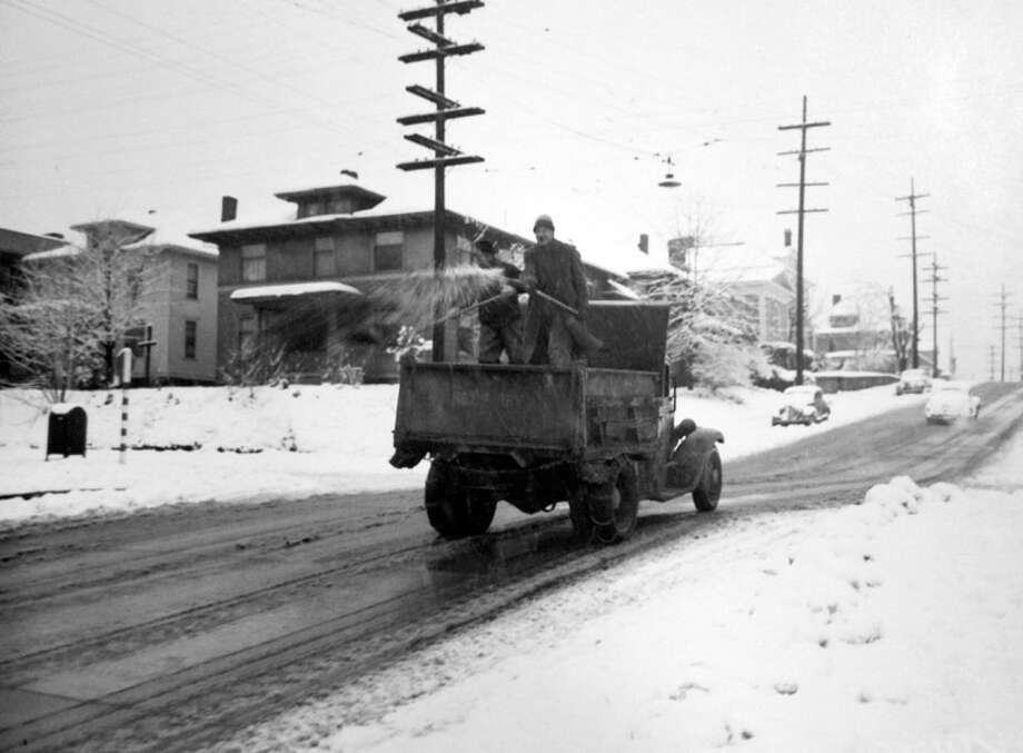 This is how Seattle crews removed snow from the streets on Nov. 20, 1946. The exact location and photographer were not recorded by the P-I. (Copyright MOHAI, Seattle Post-Intelligencer Collection, PI28411. Click for reproductions.) Photo: -