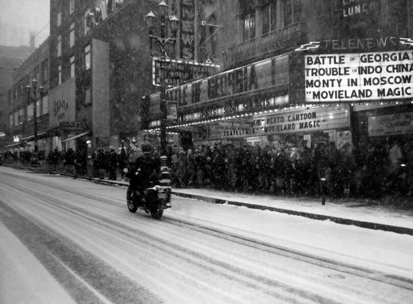 The bus system was jammed in the Seattle snowstorm of Feb. 1, 1947. More than 100 people were waitin