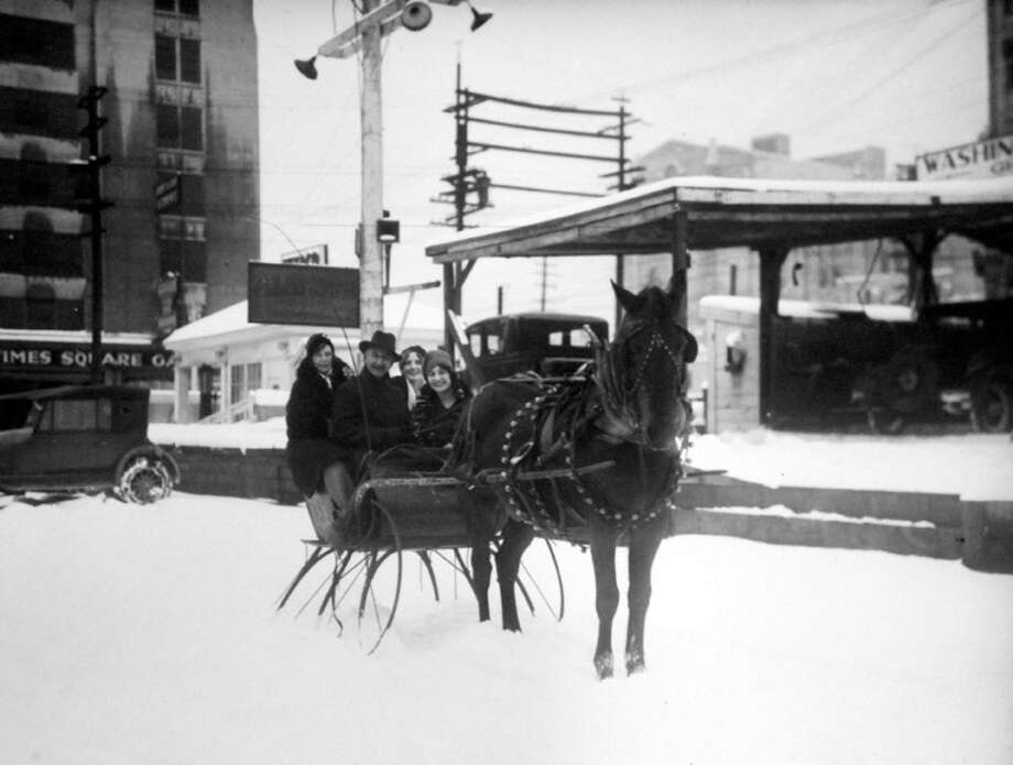 This previously unpublished photo shows a horse-drawn sleigh in downtown Seattle during the storm of Jan. 1929. (Copyright MOHAI, Seattle Post-Intelligencer Collection, PI28378. Click for reproductions.) Photo: -