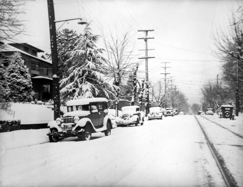 This previously unpublished photo from Jan. 28, 1937 shows a Seattle street in the snow – but staff didn't record exactly where it was taken. However, the negative has been preserved at the Museum of History and Industry among many other snow photos. (Copyright MOHAI, Seattle Post-Intelligencer Collection, PI28388. Click for reproductions.) Photo: -
