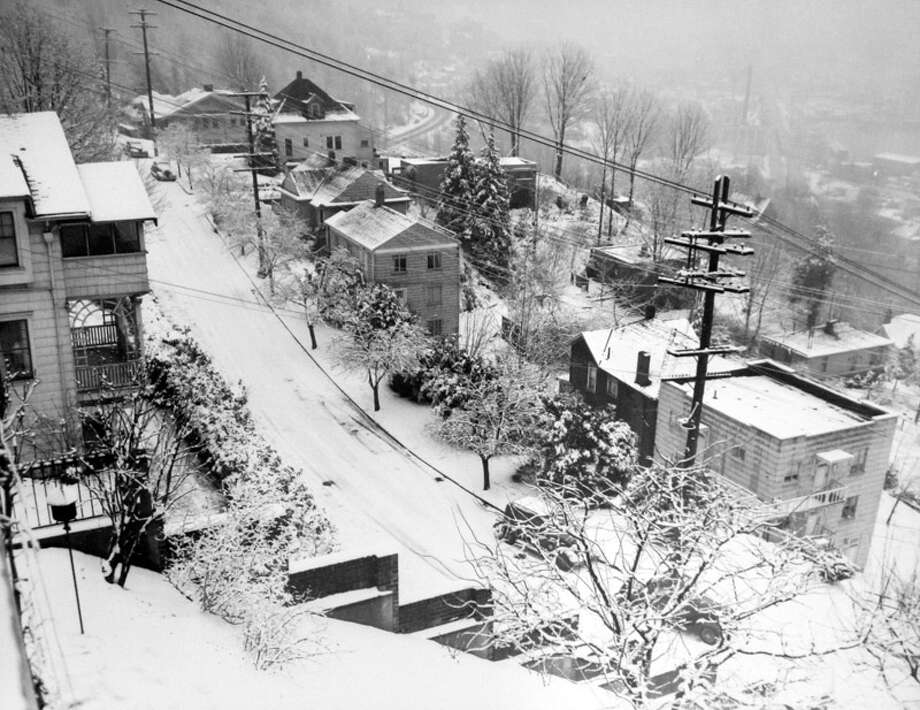 Here's another scene from the Jan. 19, 1943 snow that shutdown Seattle. It was the worst storm the city had seen in two decades. This picture was not previously published by the P-I and staff did not save notes of where exactly it was taken from. (Copyright MOHAI, Seattle Post-Intelligencer Collection, PI28394. Click for reproductions.) Photo: -