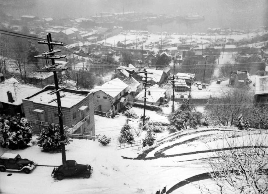 Here's another scene from the Jan. 19, 1943 snow that shutdown Seattle. It was the worst storm the city had seen in two decades. This picture was not previously published by the P-I and staff did not save notes of where exactly it was taken. (Copyright MOHAI, Seattle Post-Intelligencer Collection, PI28395. Click for reproductions.) Photo: -