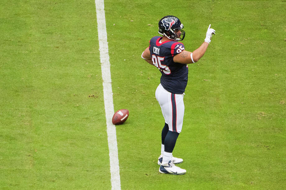 Texans nose tackle Shaun Cody waves his finger after knocking down a pass by Bills quarterback Ryan Fitzpatrick during the first half. Photo: Smiley N. Pool, Houston Chronicle / © 2012  Houston Chronicle