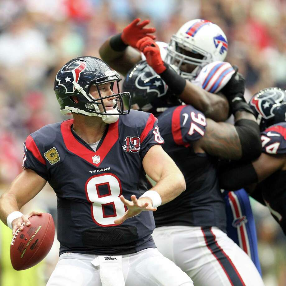 Texans quarterback Matt Schaub (8) looks to pass during the first quarter of an NFL football game against the Bills. Photo: Karen Warren, Houston Chronicle / © 2012  Houston Chronicle