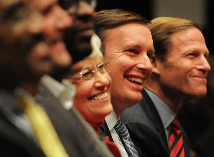 From left; Lt. Governor Nancy Wyman, Congressman Chris Murphy, and Senator Richard Blumenthal were a