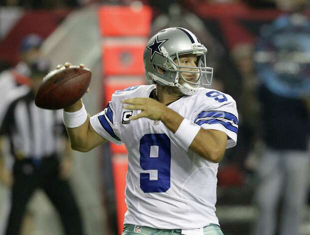 Dallas Cowboys quarterback Tony Romo (9) throws during the first half of an NFL football game against the Atlanta Falcons Sunday, Nov. 4, 2012, in Atlanta. (AP Photo/Chuck Burton) Photo: Chuck Burton, Associated Press / AP
