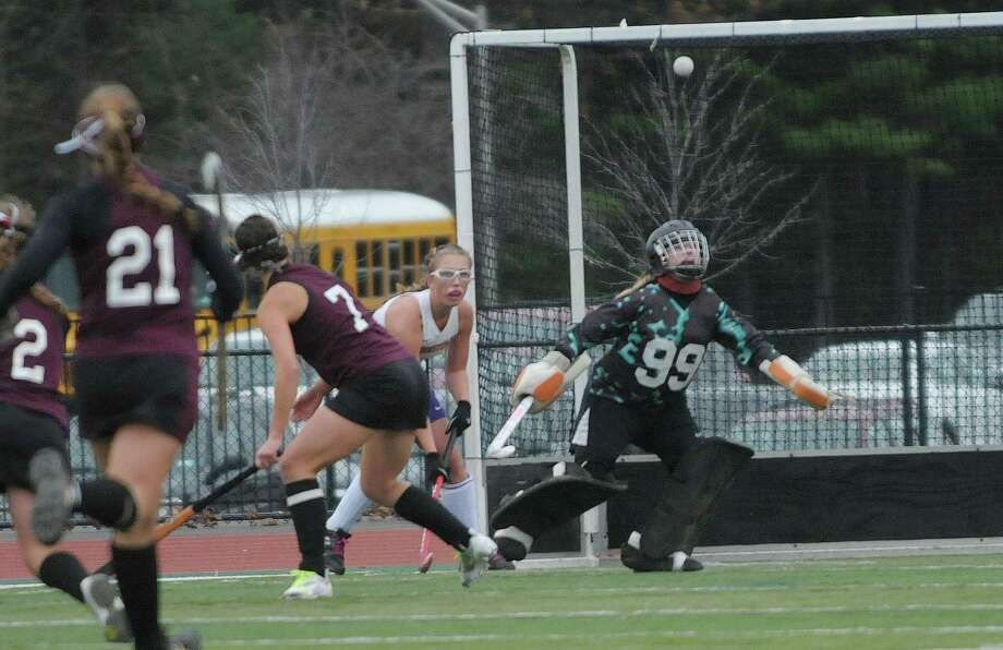 Burnt Hills Ballston Lake goalkeeper Brittany Ryan makes a save from a Johnstown player's shot during the Class B girl's field hockey finals on Sunday, Nov. 4, 2012 in Clifton Park, NY.  Burnt Hills Ballston Lake won by the score of three to one.   (Paul Buckowski / Times Union) Photo: Paul Buckowski