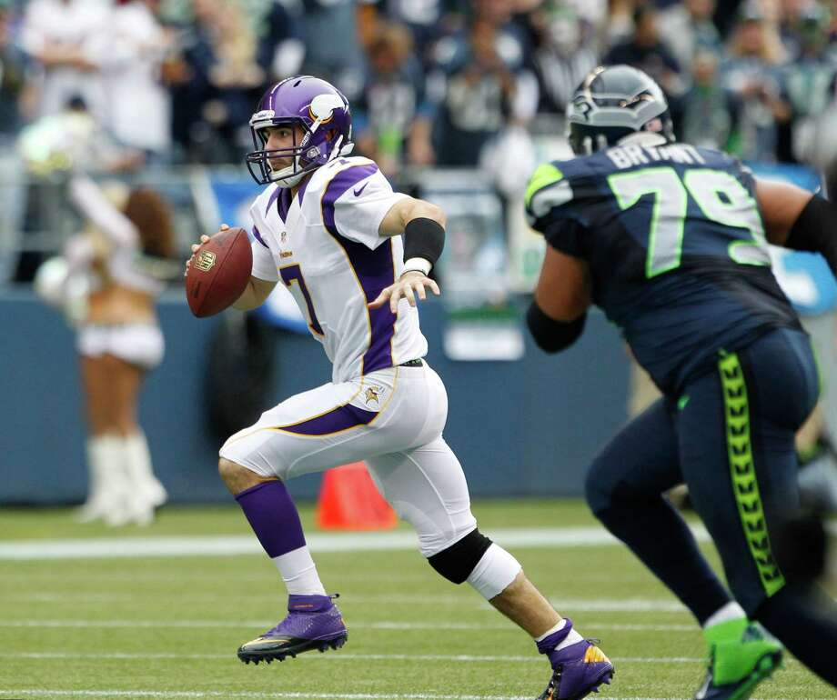 Minnesota Vikings quarterback Christian Ponder in action against the Seattle Seahawks in the first half of an NFL football game, Sunday, Nov. 4, 2012, in Seattle. Photo: AP