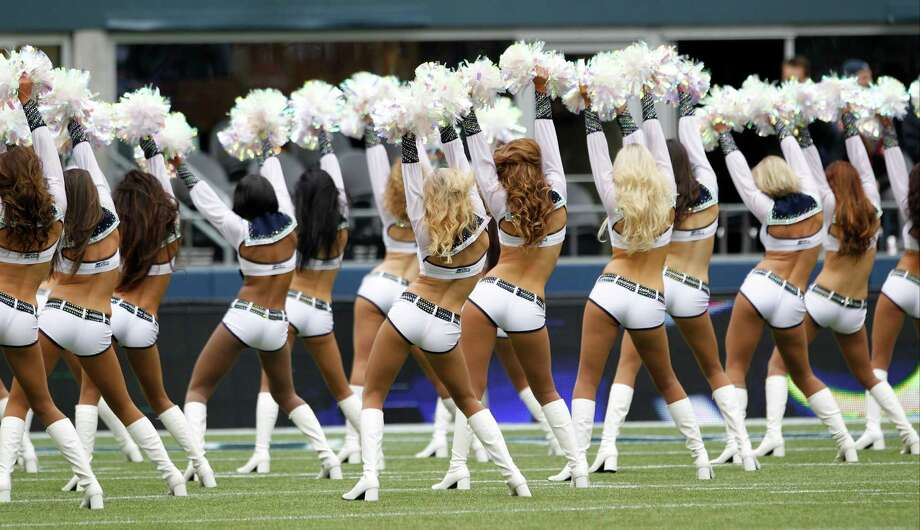 Seattle Seahawks Sea Gals cheerleaders perform in the first half of an NFL football game against the Minnesota Vikings, Sunday, Nov. 4, 2012, in Seattle. Photo: AP