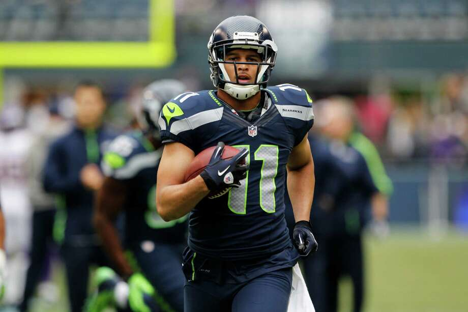 Seattle Seahawks' Jermaine Kearse is shown on field prior to the start of an NFL football game against the Minnesota Vikings, Sunday, Nov. 4, 2012, in Seattle. Photo: AP