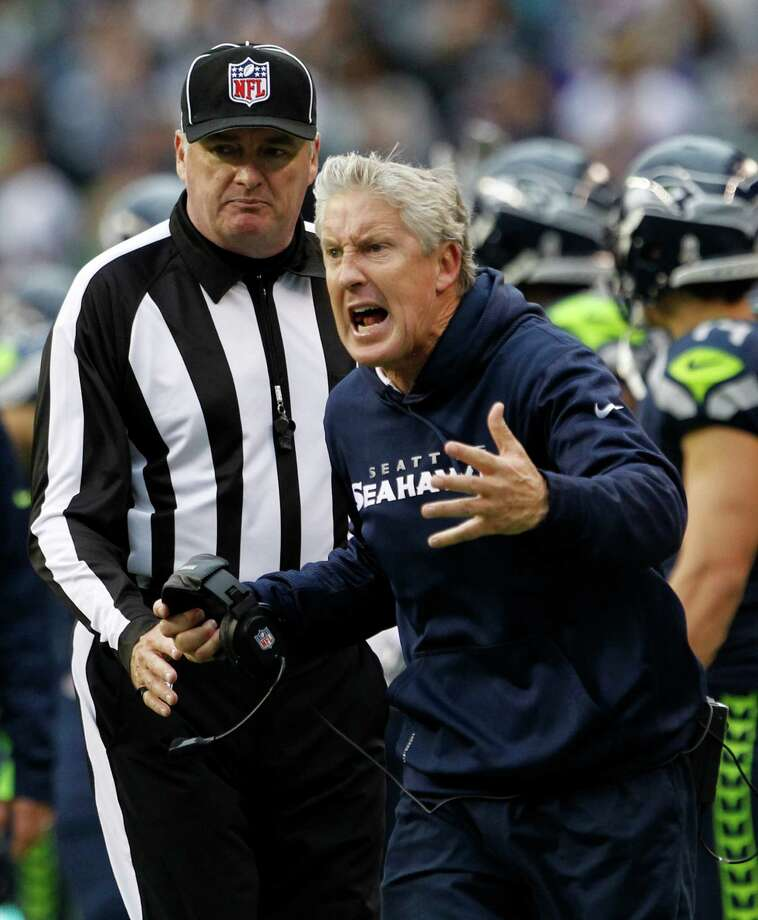 Seattle Seahawks head coach Pete Carroll reacts to a play against the Minnesota Vikings, in the second half of an NFL football game, Sunday, Nov. 4, 2012, in Seattle. Photo: AP