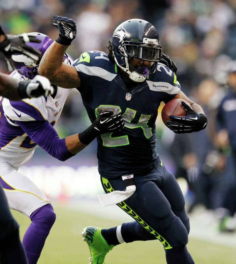 Seattle Seahawks' Marshawn Lynch rushes against the Minnesota Vikings in the second half of an NFL football game, Sunday, Nov. 4, 2012, in Seattle. The Seahawks won 30-20. Photo: AP