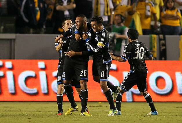 Victor Bernardez (second from left) blasted one through the Galaxy wall and past keeper Josh Saunders for the only goal. Photo: Victor Decolongon, Getty Images