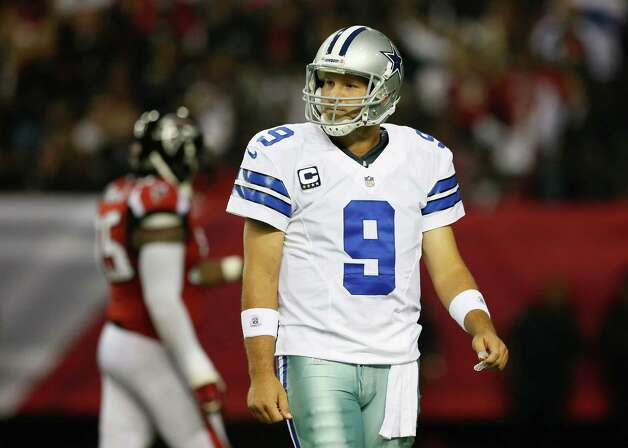 ATLANTA, GA - NOVEMBER 04:  Tony Romo #9 of the Dallas Cowboys reacts after a turnover on downs against the Atlanta Falcons at Georgia Dome on November 4, 2012 in Atlanta, Georgia. Photo: Kevin C. Cox, Getty Images / 2012 Getty Images