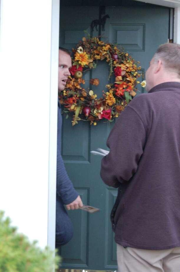 Rep. Chris Gibson, R-Kinderhook, knocked on doors Sunday in Saugerties. (Jimmy Vielkind/Times Union)
