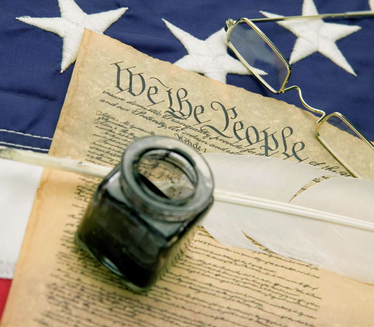 United States Constitution, 13-star American flag, inkwell and quill pen