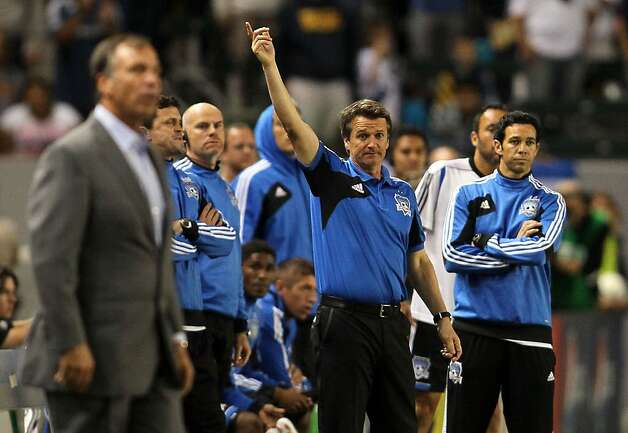 CARSON, CA - NOVEMBER 04:  Head coach Frank Yallop of the San Jose Earthquakes appeals for end of time in the 90th minute as head coach Bruce Arena of the Los Angeles Galaxy looks on (foreground) in the second half en route to the Earthquakes defeating the Los Angeles Galaxy 1-0 in the first leg of the MLS Western Conference Semifinal match at The Home Depot Center on November 4, 2012 in Carson, California.  (Photo by Victor Decolongon/Getty Images) Photo: Victor Decolongon, Getty Images