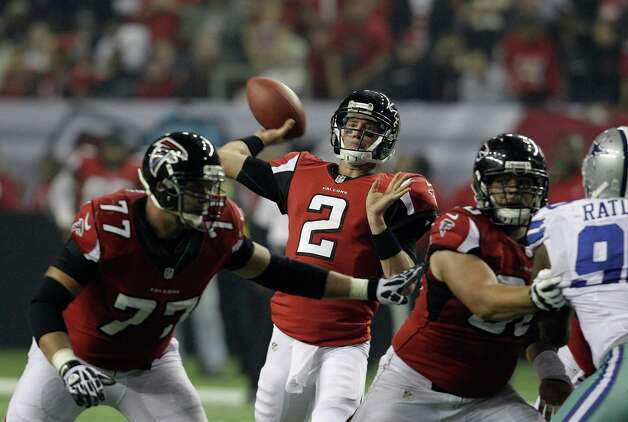 Atlanta Falcons quarterback Matt Ryan (2) throws a pass during the second half of an NFL football game against the Dallas Cowboys Sunday, Nov. 4, 2012, in Atlanta. (AP Photo/Chuck Burton) Photo: Chuck Burton, Associated Press / AP
