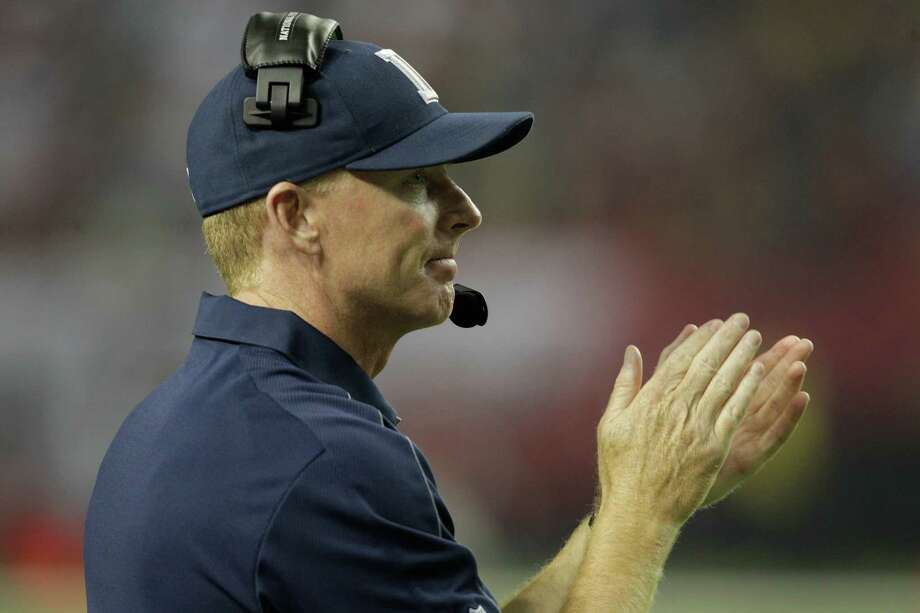 Dallas Cowboys head coach Jason Garrett looks on during the second half of an NFL football game against the Atlanta Falcons in Atlanta, Sunday, Nov. 4, 2012. Atlanta won 19-13. (AP Photo/Chuck Burton) Photo: Chuck Burton, Associated Press / AP