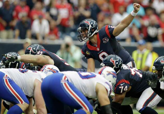 Houston Texans quarterback Matt Schaub (8) calls a play against the Buffalo Bills in the third quarter of an NFL football game Sunday, Nov. 4, 2012, in Houston. (AP Photo/Eric Gay) Photo: Eric Gay, Associated Press / AP
