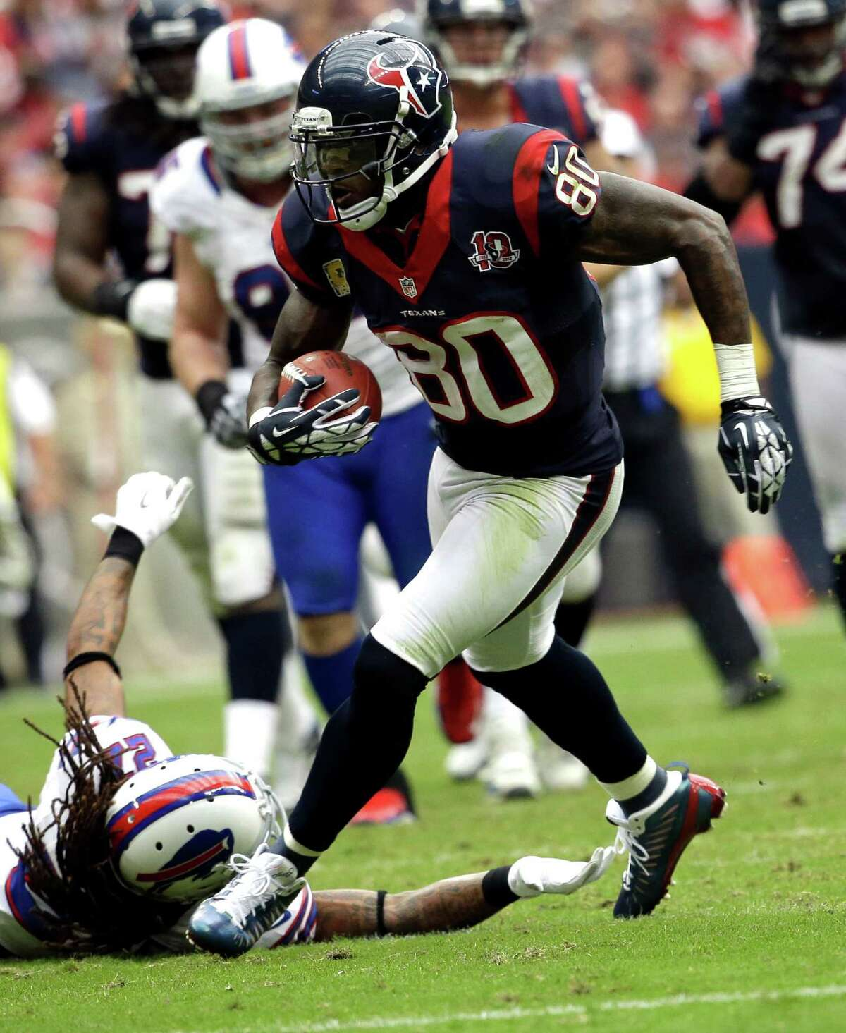 Houston Texans wide receiver Andre Johnson (80) catches a pass against the Buffalo Bills in the fourth quarter of an NFL football game Sunday, Nov. 4, 2012, in Houston. (AP Photo/David J. Phillip)