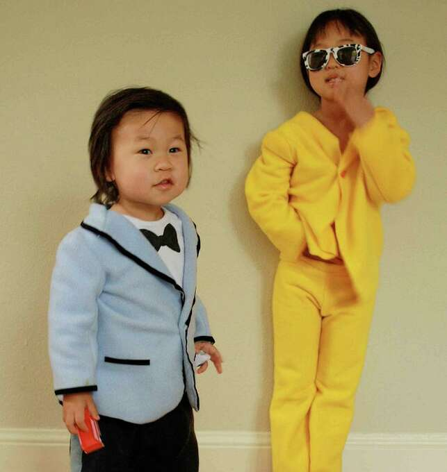"FINALIST! Jane, who once graced our winner's circle by making her toddler hand-knit nunchuks for a Bruce Lee costume, comes back strong! ""Here's our daughter and her little brother, Gangnam Style. I couldn't resist given their perfect body types, Korean heritage, and the fact that the looove dancing to the song."""