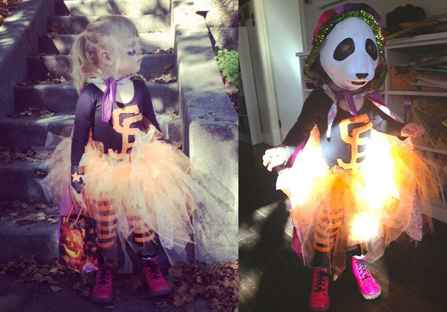 "FINALIST! In a very timely move 3-year-old Ivy went as Super Panda. Mom Kate Schatz reports: ""It was a big hit at the Piedmont Ave Costume Parade—everyone was yelling 'Go Giants!' and she took a picture w/ a kid dressed as Scutaro."""